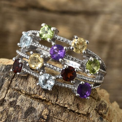 Mozambique Garnet, Sky Blue Topaz and Multi Gem Stone Scatter Ring in Platinum Overlay Sterling Silver 2.750 Ct. Silver wt 6.60 Gms.