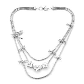 Royal Bali Collection - Sterling Silver Dragonfly Layered Necklace (Size 20), Silver wt 69.65 Gms.