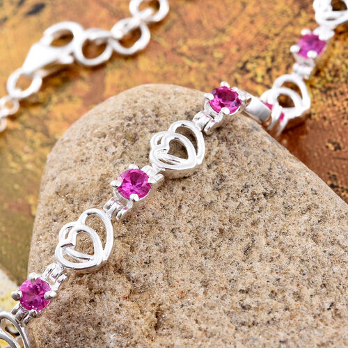 Designer Inspired Simulated Pink Sapphire (Rnd) Bracelet (Size 7.5 with Half Inch Extender) in Sterling Silver. Silver Wt 6.01 Gms