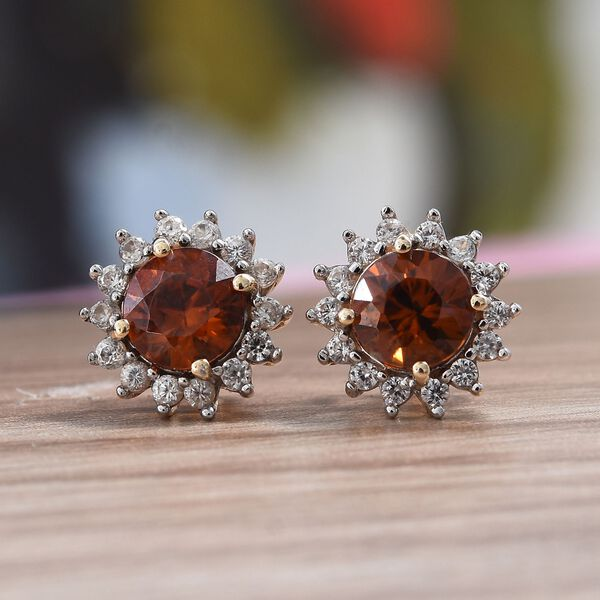 9K Yellow Gold AAA Natural Red Zircon (Rnd), Natural Cambodian Zircon Stud Earrings (with Push Back) 2.15 Ct.