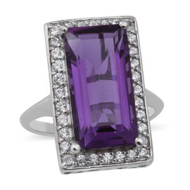 Lusaka Amethyst and Natural Cambodian Zircon Ring in Rhodium Overlay Sterling Silver 9.19 Ct.