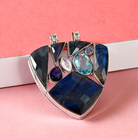 Sajen Silver ILLUMINATION Collection - Labradorite, Doublet Quartz and Rainbow Moonstone Pendant in Sterling Silver 33.00 Ct, Silver wt. 12.98 Gms