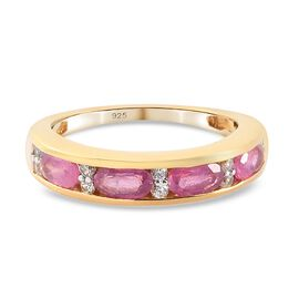 Pink Ruby and Natural Cambodian Zircon Half Eternity Band Ring in 14K Gold Overlay Sterling Silver 1