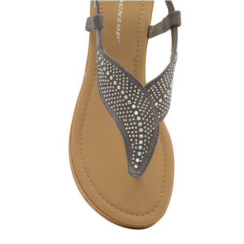Dunlop Amy Toe Post Flat Sandals (Size 4) - Grey