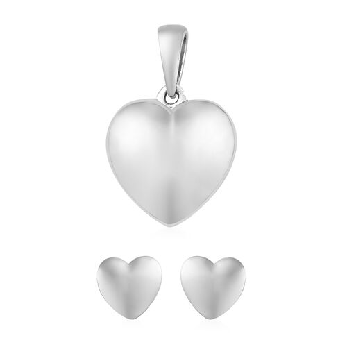 2 Piece Set - Platinum Overlay Sterling Silver Heart Pendant and Earrings (with Push Back)