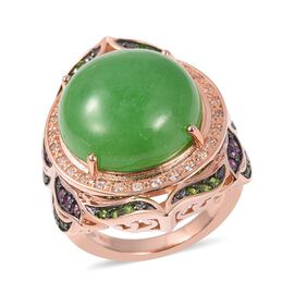 Green Jade (Rnd), Russian Diopside, Amethyst and Natural Cambodian White Zircon Ring in Rose Gold and Black Plating Sterling Silver 16.05 Ct, Silver wt 9.51 Gms.