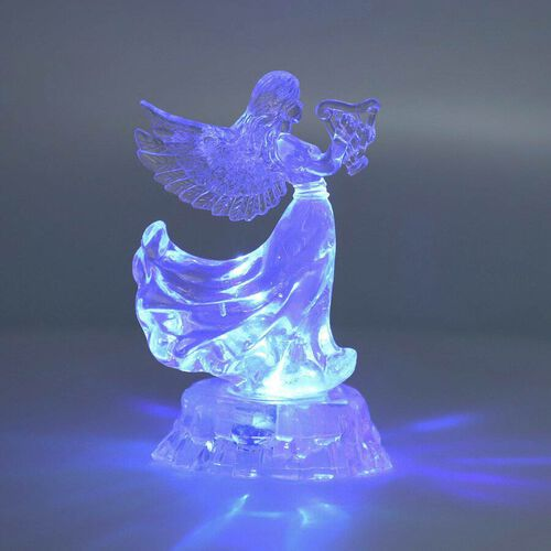 Christmas Decoration- LED in-bulit Crystal Angel Playing a Harp (Batteries not included)