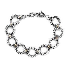 Royal Bali Collection 18K Yellow Gold and Sterling Silver Pebble Link Bracelet (Size 8 with Extender