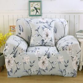 Floral Printed Washable Stretch Sofa Cover (Size 145-185 Cm) - Light Grey