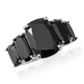 14.28 Ct Boi Ploi Black Spinel 5 Stone Ring in Rhodium Plated Silver