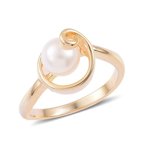 One Time Deal- Japanese Akoya Pearl White Topaz Ring in 14K Gold Overlay Sterling Silver