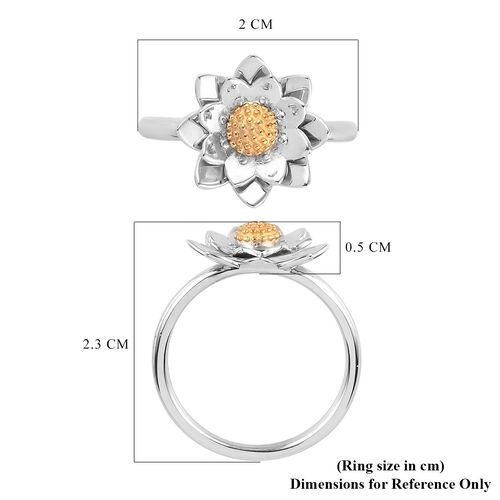Platinum and Yellow Gold Overlay Sterling Silver Floral Ring