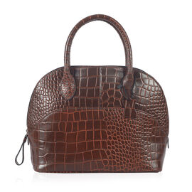 PREMIER COLLECTION 100% Genuine Leather RFID Brown Colour RFID Blocker Croc Embossed Satchel Bag (Size 30x25 Cm)