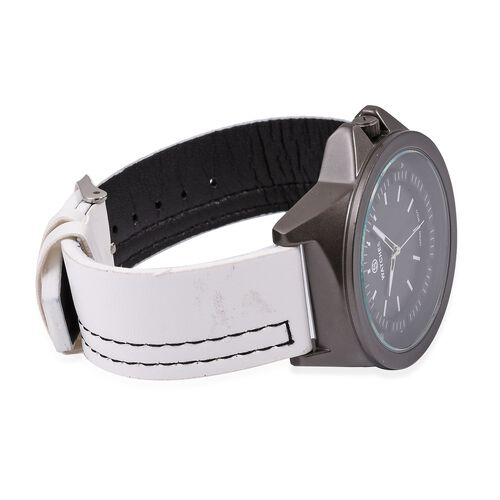 STRADA Japanese Movement Water Resistant Watch with Black Dial and White Colour Strap.