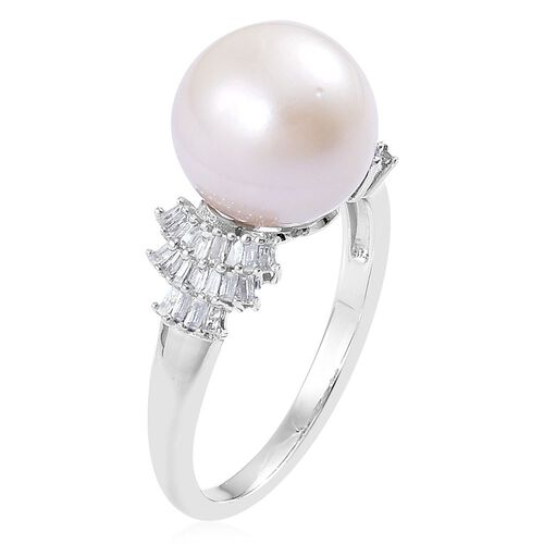 Limited Edition - AAA South Sea White Pearl (Rnd 11-11.5mm), Diamond Ring in Platinum Overlay Sterling Silver
