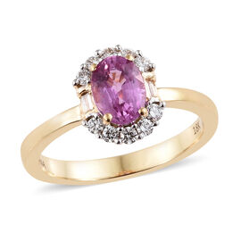 ILIANA 18K Yellow Gold AAA Pink Sapphire (Ovl), Diamond (SI/G-H) Ring 1.200 Ct.