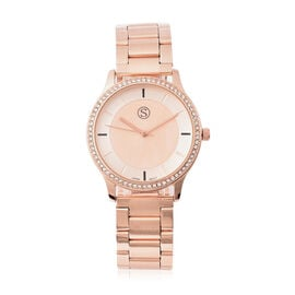 STRADA Japanese Movement White Austrian Studded Water Resistant Watch with Chain Strap in Rose Gold