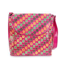 SUKRITI 100% Genuine Leather Floral Pattern Crossbody Bag (Size 28x33x11 Cm) - Fuchsia