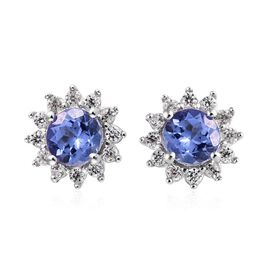 Tanzanite (Rnd), Natural Cambodian Zircon Earrings (with Push Back) in Platinum Overlay Sterling Sil