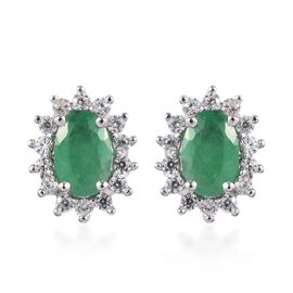 AA Kagem Zambian Emerald, Natural Cambodian Zircon Halo Stud Earrings (with Push Back) 9K Gold 1.15