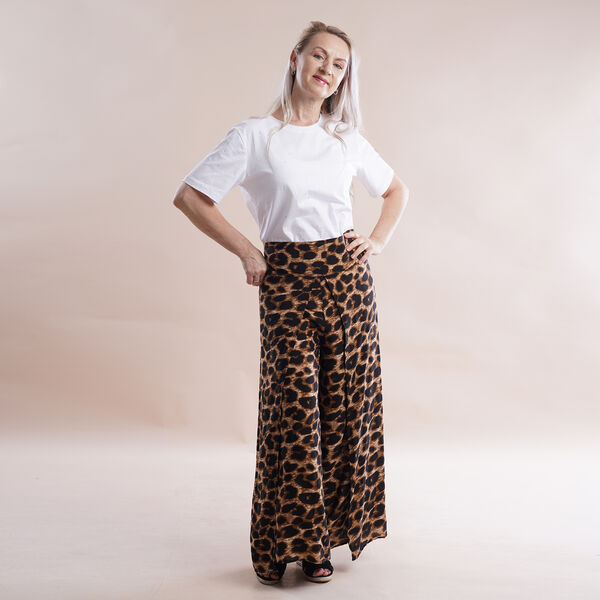 JOVIE Miss Collection 100%Viscose Leopard Pattern Elastic Band Print Trousers (Size M/L, 8-16) - Brown