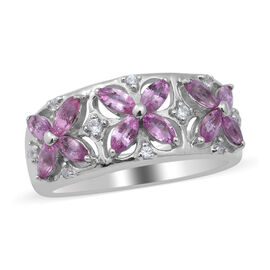 Pink Sapphire and Natural Cambodian Zircon Floral Ring in Rhodium Overlay Sterling Silver 1.37 Ct.