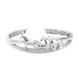 Horse Cuff Bangle (Size 7.5) in Silver Tone