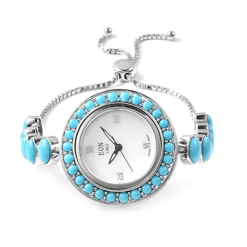 Arizona Sleeping Beauty Turquoise Adjustable Bracelet Watch (Size 6-8) in Sterling Silver