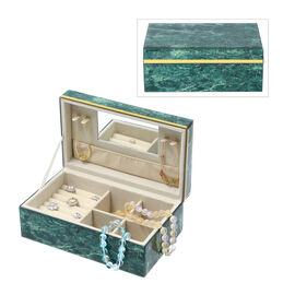 Malachite Gemstone Jewellery Storage Box with Golden Rim and Inside Mirror (Size 21x13x8.5 cm)
