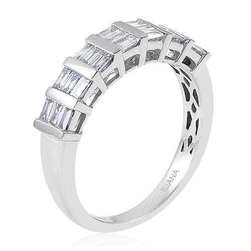 ILIANA 18K White Gold IGI Certified Diamond (Bgt) (SI/G-H) Half Eternity Ring 0.500 Ct.