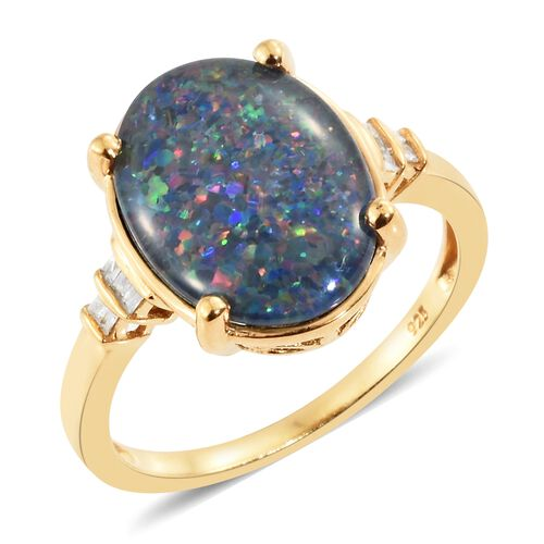 Australian Boulder Opal (Ovl 5.15 Ct), Diamond Ring in 14K Gold Overlay Sterling Silver 5.250 Ct.