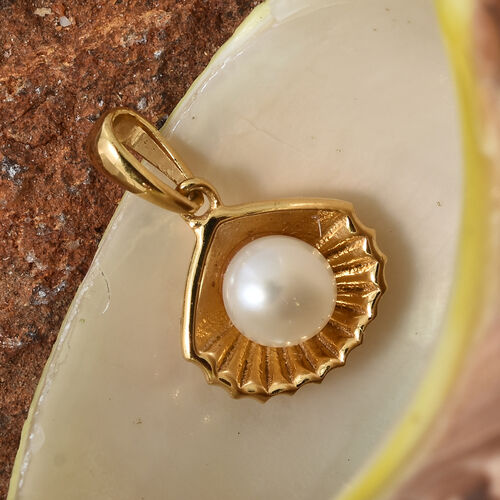Fresh Water Pearl (Rnd) Shell Pendant in 14K Gold Overlay Sterling Silver