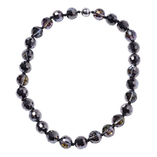 Bi Colored Glass Beaded Necklace in Stainless Steel 20 Inch
