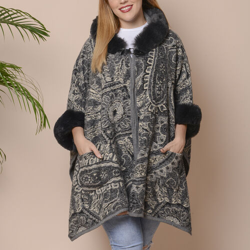 Last Chance-Dark Grey and Black Colour Faux Fur Hat Cape with Cashew Flower Pattern (Size 124.46 x 7