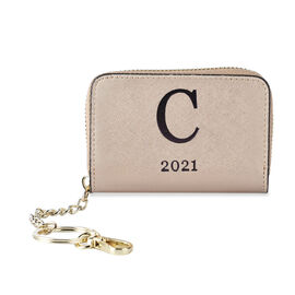 Genuine Leather Alphabet C Wallet with Engraved Message on Back Side (Size 11X7.5X2.5 Cm) - Gold