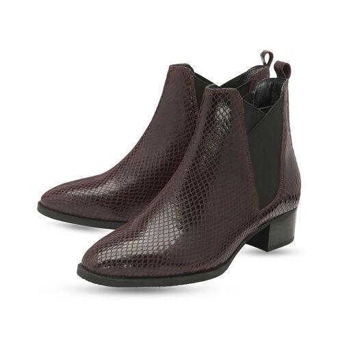 Ravel Bordo Loburn Snake-Print Leather Ankle Boots (Size 4)