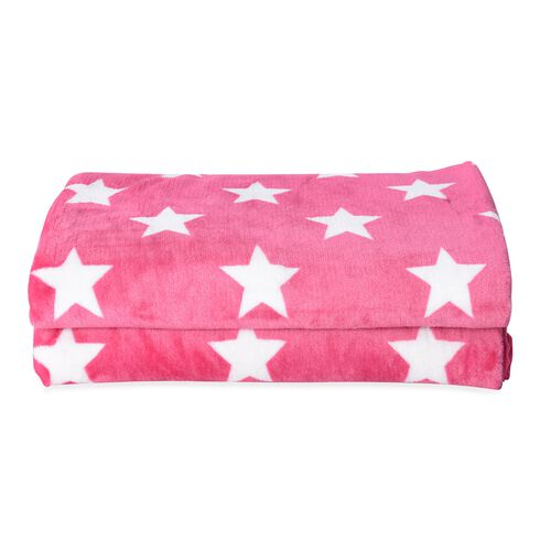 Microfibre Flannel Printed Blanket with Star Pattern in Pink and White Colour (Size 200x150 Cm)