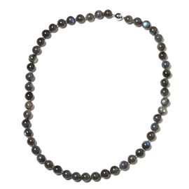 52 Made- Very Rare Labradorite (Rnd) Beads Necklace (Size 20) with Magnetic Lock in Rhodium Plated Sterling Silver 266.000 Ct.