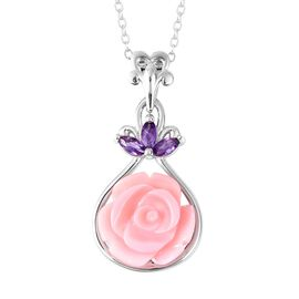 Pink Mother of Pearl (5.25 Ct),African Amethyst Sterling Silver Pendant With Chain  5.350  Ct.