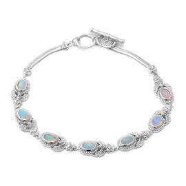 AA Ethiopian Welo Opal Bracelet (Size 7.5 - 8) in Rhodium Overlay Sterling Silver 2.10 Ct., Silver w