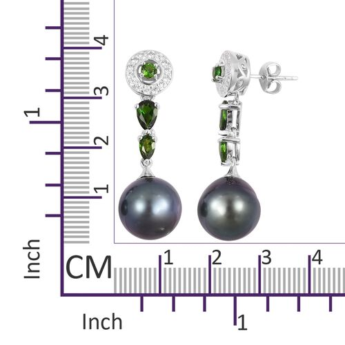 Limited Edition- Very Rare Tahitian Pearl (12-13 mm), Russian Diopside and Natural White Cambodian Zircon Earrings (with Push Back) in Rhodium Overlay Sterling Silver.