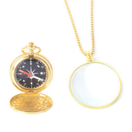 Set of 2 - Compass and  Magnifier with Chain - Gold Colour
