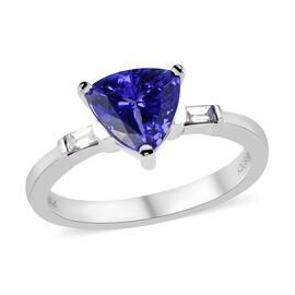 RHAPSODY 950 Platinum AAAA Tanzanite (Trl 7.5 mm 1.65 Ct), Diamond (VS- EF) Ring 1.75 Ct, Platinum w