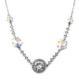 J Francis - Crystal from Swarovski White Crystal (Rnd), Simulated Mystic White Crystal Floral Neckla