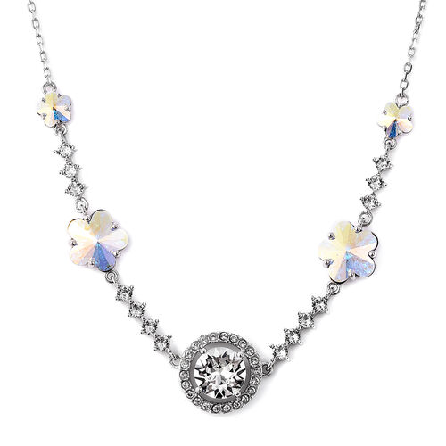 J Francis - Crystal from Swarovski White Crystal (Rnd), Simulated Mystic White Crystal Floral Neckla