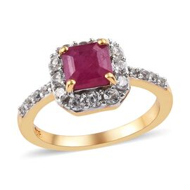 2 Carat African Ruby and Natural Cambodian Zircon Halo Ring in 14K Gold Plated Sterling Silver