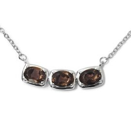 Brazilian Smoky Quartz Necklace (Size 18) in Platinum Overlay Sterling Silver 2.00 Ct.