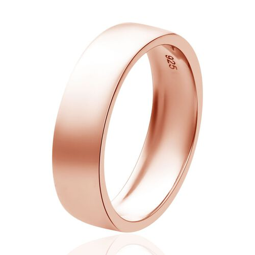 Rose Gold Overlay Sterling Silver Band Ring, Silver wt. 3.00 Gms