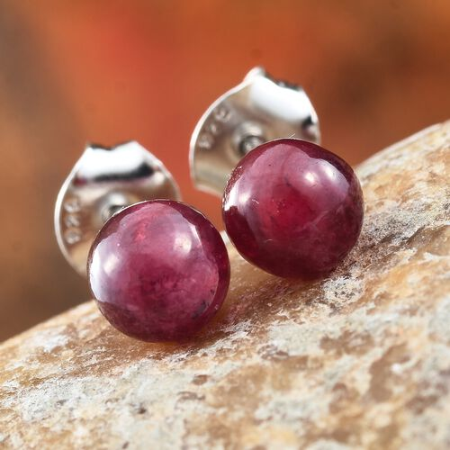 African Ruby Ball Stud Earrings (with Push Back) in Platinum Overlay Sterling Silver 4.750 Ct.