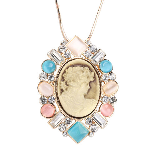 Multi Colour Simulated Cats Eye, White Austrian Crystal and Simulated Diamond Pendant with Chain in